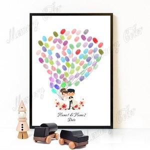 Image 5 - Özel Isimleri Tarih Düğün Ziyaretçi Defteri Parmak Izi Işareti Düğün Dekorasyon Parmak Izi DIY Ağacı (1 2 takım için mürekkep pedi Dahil)