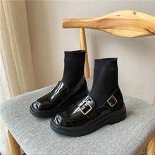 2021 женские туфли мэри джейн на массивном каблуке с круглым