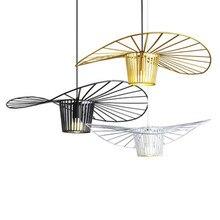 цена Modern Iron Art Straw Hat Pendant Lights Living Room Restaurant Hanging Lighting Clothing Shop Art Bar Cafe Hall Light Fixtures онлайн в 2017 году