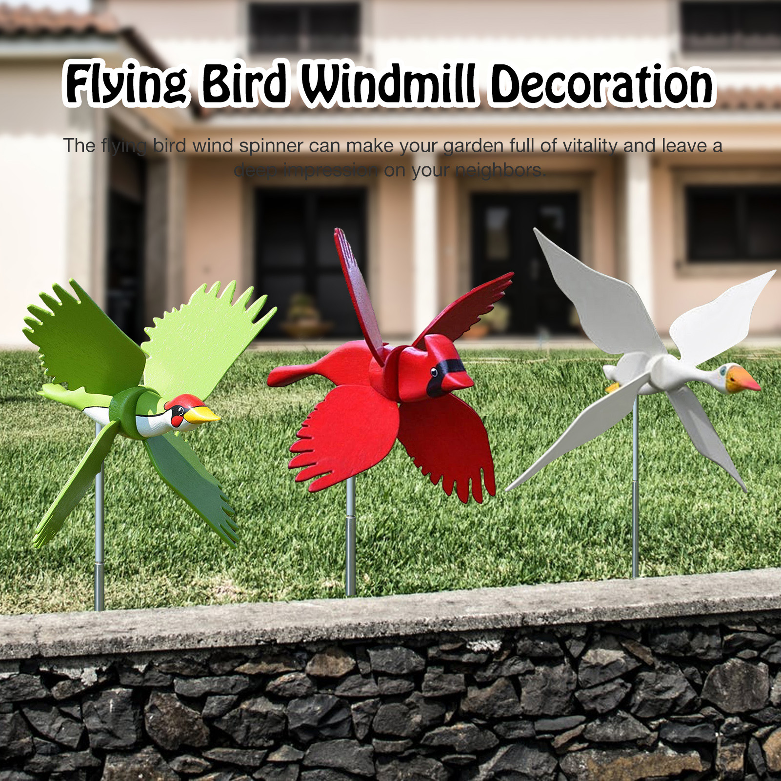 Windmill Whirligig Asuka Series Resin Crafts Windmill Garden Lawn Yard Decor Wind Spinner Flying Bird Ornament Housewarming Gift