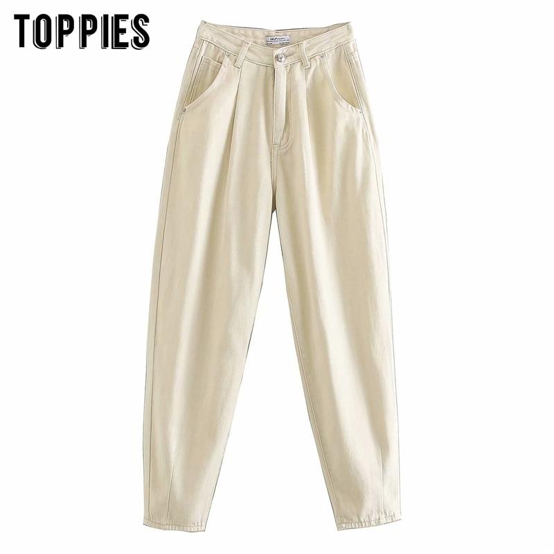2020 Spring Creamy White Denim Pants High Waist Harem Pants Plus Size Women Trousers Streetwear