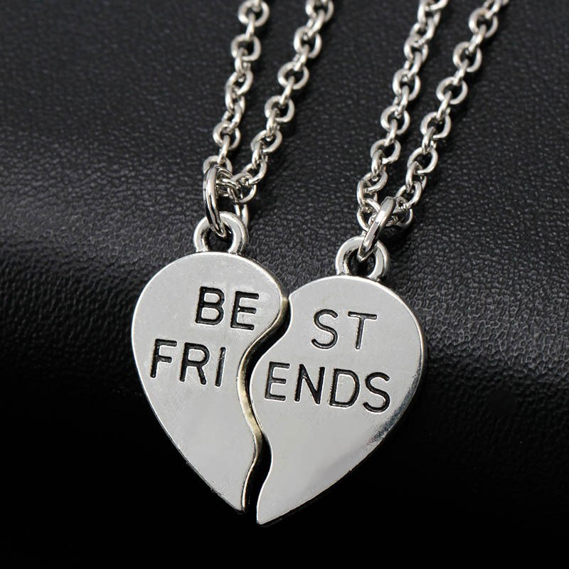 2 Best Friend Pendants Necklaces Share With Your Friends 2PCS New Creative Style Fashion Friendship Broken Heart Parts Necklace image