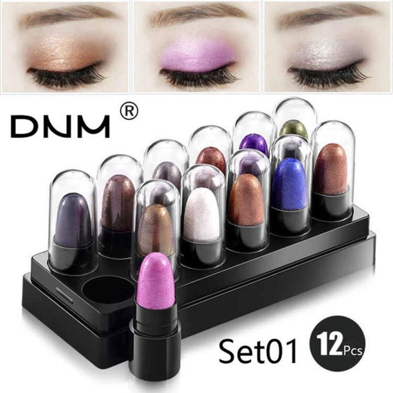 DNM Pro 12Pcs/Set Shimmer Matte Eyeshadow Highlighter Pencil Long Lasting Waterproof Eyeshadow Makeup Pigment Cosmetics TSLM2