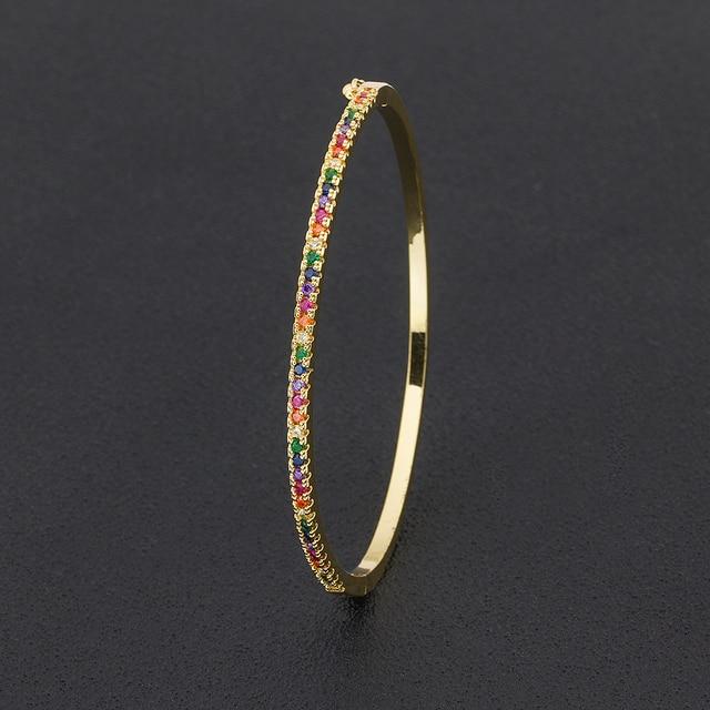 New Design High Quality Charm Rainbow Bangles Copper Zirconia Rhinestone Cuff Bangle Trendy Jewelry Gift For Women Girls 5