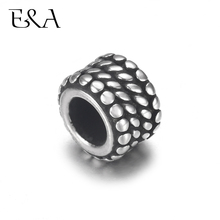 4pcs Stainless Steel Drum Bead Charms 5mm Large Hole for Leather Jewelry Bracelet Making Metal Beads DIY Supplies Parts