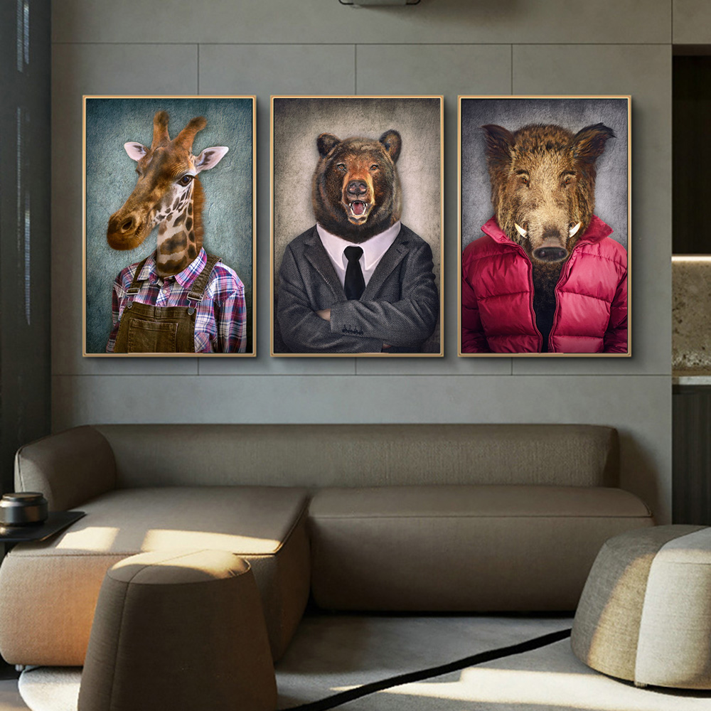 Nordic Art Giraffe Animals in Worker Clothing Canvas Art Posters And Prints Abstract Canvas Paintings On the Wall Art Pictures