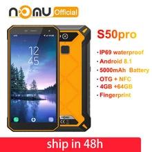 "Ному S50 PRO IP69 Водонепроницаемый мобильных телефонов Android 8,1 5,72 ""HD + Octa Core MTK6763 4 GB 64 GB NFC FACE ID 16MP 5000 mah смартфонов"