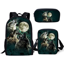 ELVISWORDS Fashion Kids Backpacks Set Moon Wolf Pattern School Bags Cartoon Animal Students 3PCs/Set Backpack/Flaps Bag/Pen Bag