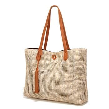 2019 New Handbags Fashion Women's Bag Large Capacity Soft Casual Summer Beach Straw Tote Simple Designer Female Shoulder Bags 1