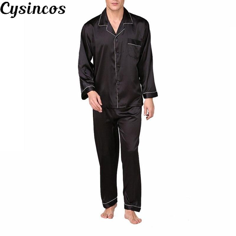 CYSINCOS Stain Silk Pijama Hombre Solid Loose Sleepwear Men Sexy Full Nightwear Sleep Pants Lounge Pajama Sets Casual Night Suit