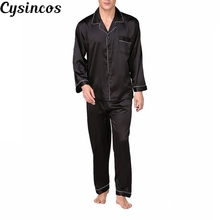 CYSINCOS Stain Silk Pijama Hombre Solid Loose Sleepwear Men Sexy Full Nightwear