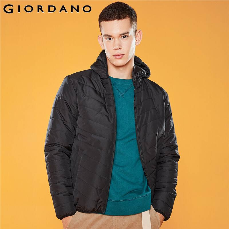 Giordano Men Coat Hooded Quilted Casacas Para Hombre Solid Color Soft Polyester Roupas Masculina 01079726