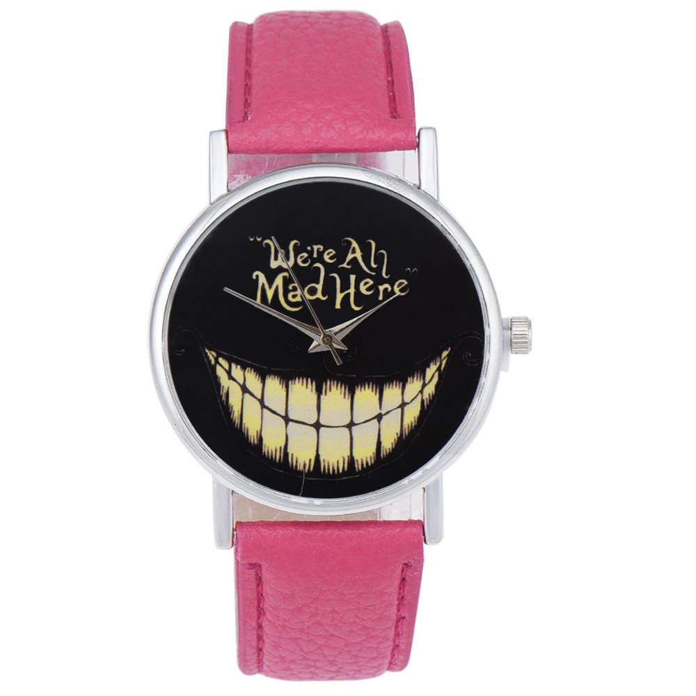 2019 New Hot Funny Grinning Pattern Pure Black Background English Graffiti No Number  Models Leather Quartz Round Gift  Watches