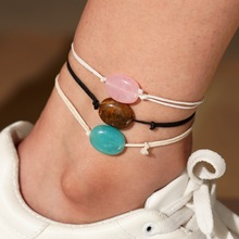 Hello Miss New fashion pop acrylic beads anklet simple hand-woven multi-layer womens gift jewelry