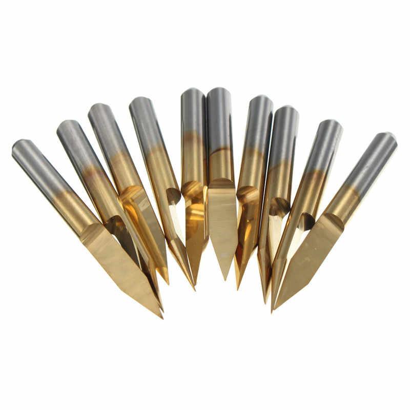 10 قطعة 30 درجة 30 مللي متر التيتانيوم آلات تقطيع المغلفة كربيد PCB الحفر CNC القاطع بت التوجيه أداة 0.2 مللي متر تلميح نهاية قاطعة الطاحونة