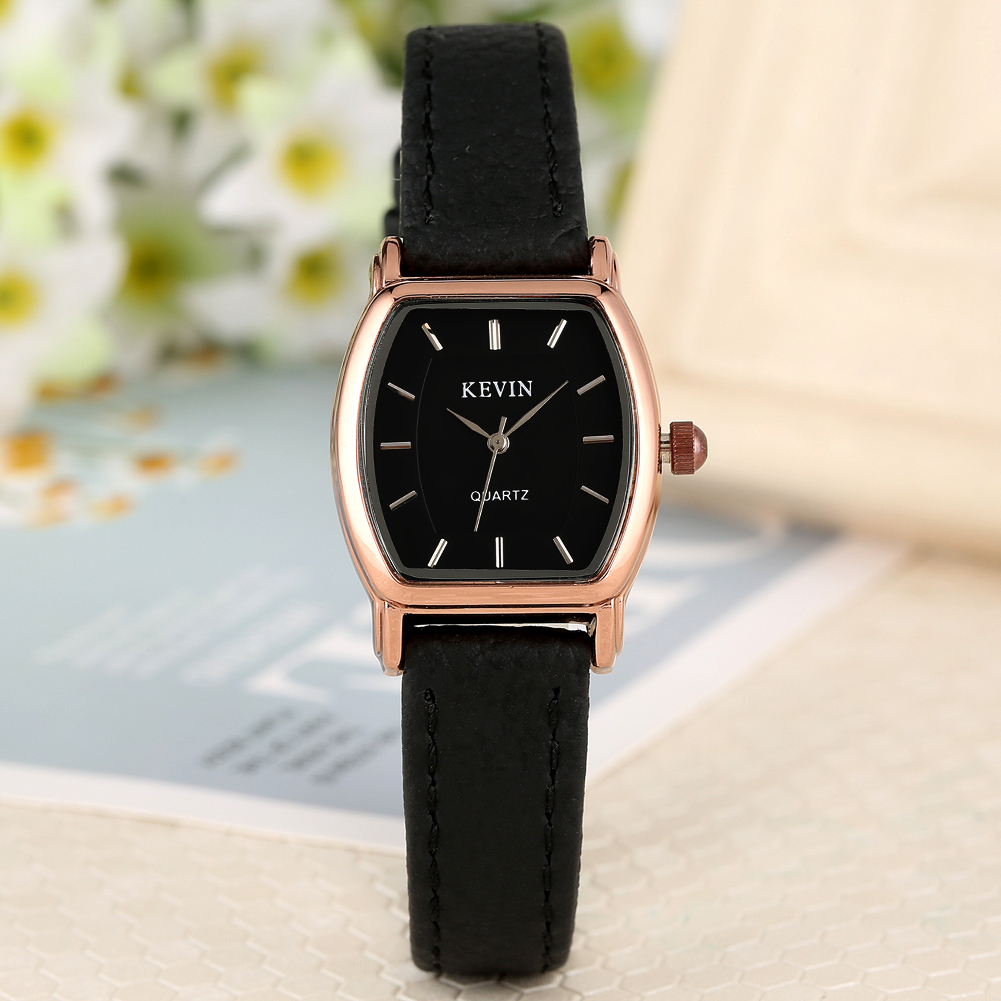 Classic Small Black Dial Quartz Watch For Women Female No Numerals Watches Solid Leather Band With Pin Buckle Wristwatch