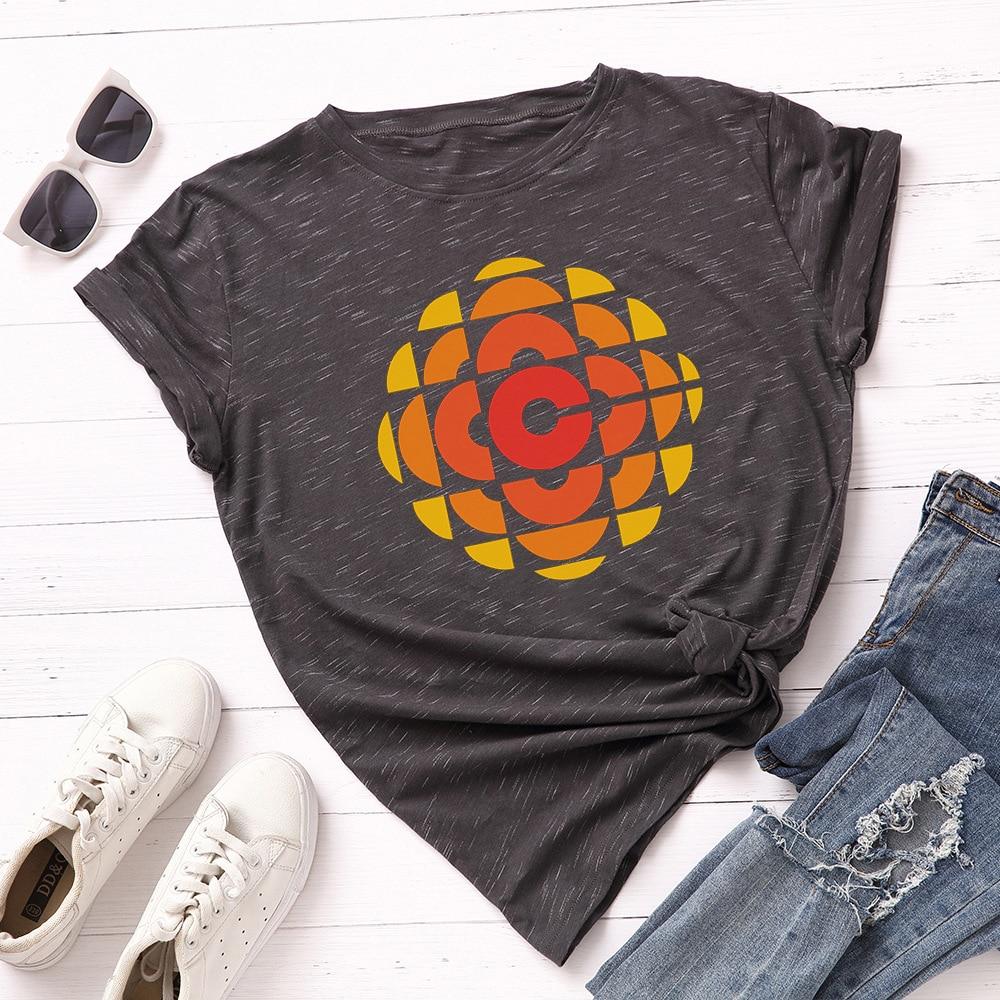 Plus Size Geometric Patterns T Shirts 100% Cotton Summer Women Print T-shirt  Loose Fashion Basic Tees Harajuku Casual Tops