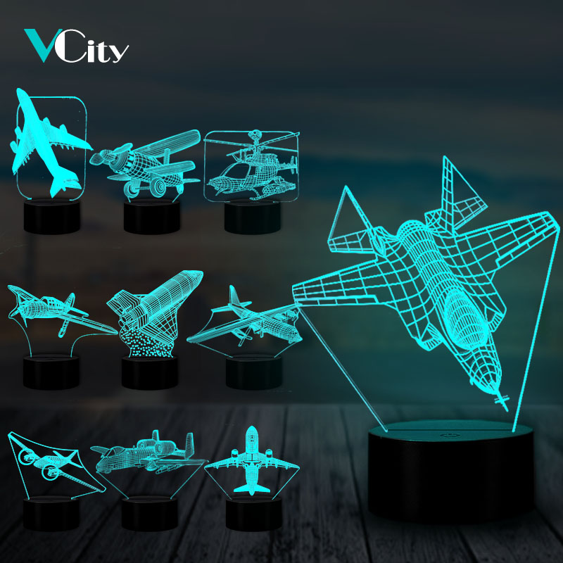 VCity Aircraft Series 3D Lamp USB LED Nightlight Helicopter Modelling Table Lamp Fixture Air Plane Gift For Kids Boys Home Decor