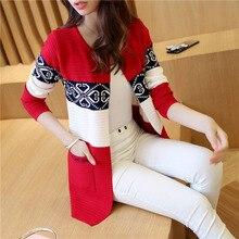 Кардиган вязанные свитера для женщин пальто женский свитер Топ Женская одежда теплая куртка с длинным рукавом корейский стиль осень зима 082