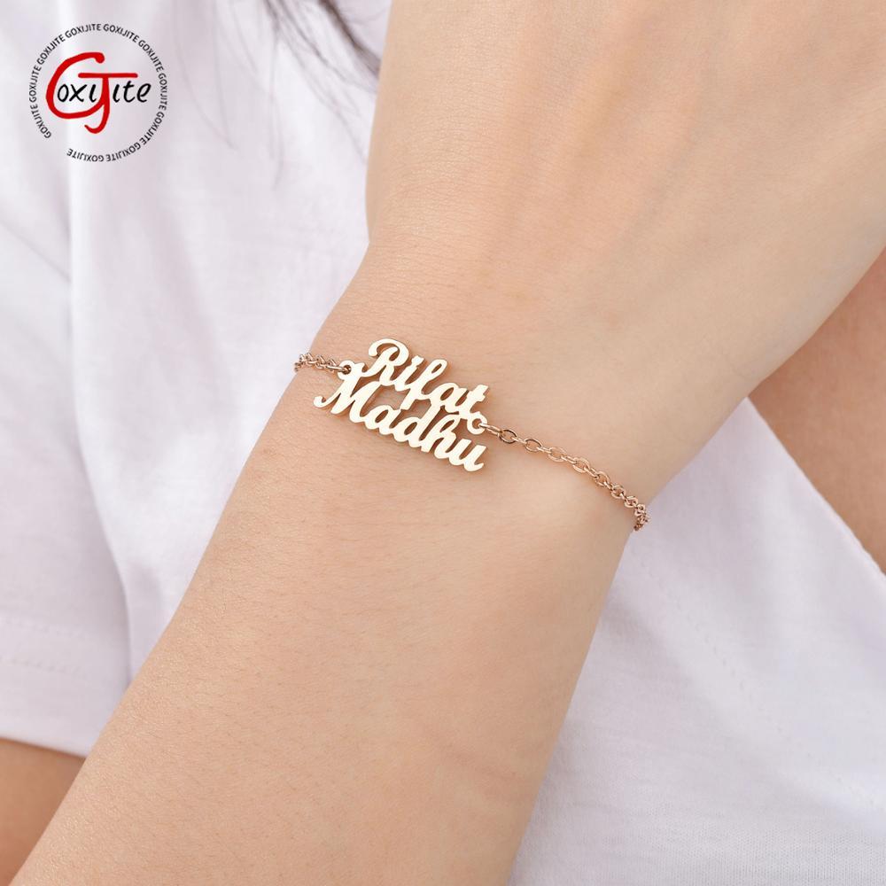 Goxijite Personalize Name Bracelet For Women Men Pulseira Gold Stainless Steel Nameplate Bracelets Accessaries Gift