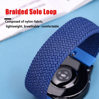 20mm/22mm Braided Solo Loop Strap for Samsung Galaxy watch 4 3/46mm/42mm/active 2/Gear S3 bracelet Huawei watch GT/2/2e/Pro Band 1