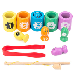 Juguetes de madera educativos Montessori para bebé, aprender número temprano, juguete que empareja Color, pinza para pesca magnética, regalos de juego de insectos para niños