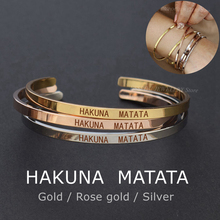 HAKUNA  MATATA Engraved Bangle Stainless Steel Proverb Letters Bracelet Fashion Bar Charm Cuff Bracelets Lover Women Best Gift