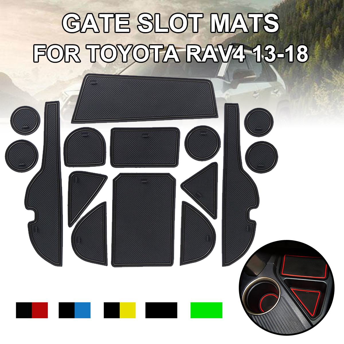 for <font><b>Toyota</b></font> <font><b>RAV4</b></font> 2013-<font><b>2018</b></font> 15pcs Anti-Slip Gate Slot Mat Rubber Coaster <font><b>Accessories</b></font> for RAV 4 2013 2014 2015 2016 2017 <font><b>2018</b></font> image