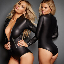 Women Sexy Lingerie PU Jumpsuits Mini Shorts Bodycon Costume Leather Long Sleeve Girls Sexy Black Hot Bodysuit(China)