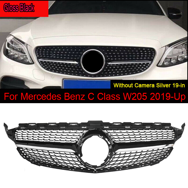 MagicKit For <font><b>Benz</b></font> <font><b>W205</b></font> C200 C300 Front <font><b>Bumper</b></font> Diamond Grille Without Camera Hole 19-20 image