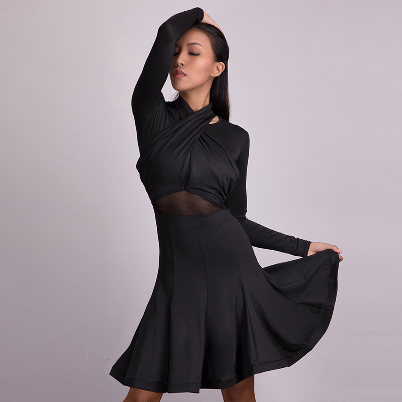 New Latin Dance Dress Ladies Sexy Long Sleeve Rumba Cha Cha Samba Tango Clothes Competition Women Stage Performance Wear PY207