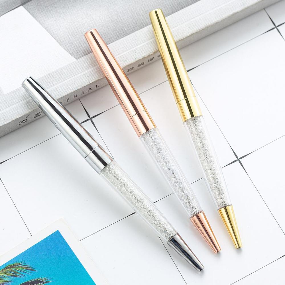 1PCS Diamond Crystal Pen Ballpoint Pen Ring Wedding Office 0.7mm Personality  Pen  Custom  LOGO  Stationery  For Metal Gift Pen