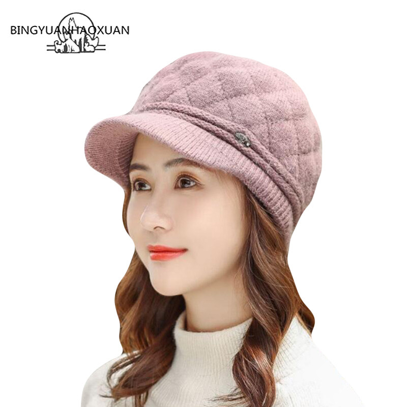 Winter Rabbit Fur Hats for Women Fashion Thick Warm Women Ladies Newsboy Berets Caps Female Knitted Hats for Winter Beret in Women 39 s Newsboy Caps from Apparel Accessories