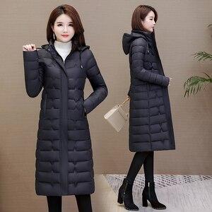 Image 3 - Зимние пальто, женская верхняя одежда 2020, Длинные парки, большие размеры 4XL, теплая толстая пуховая куртка с капюшоном, модная облегающая однотонная зимняя одежда для женщин