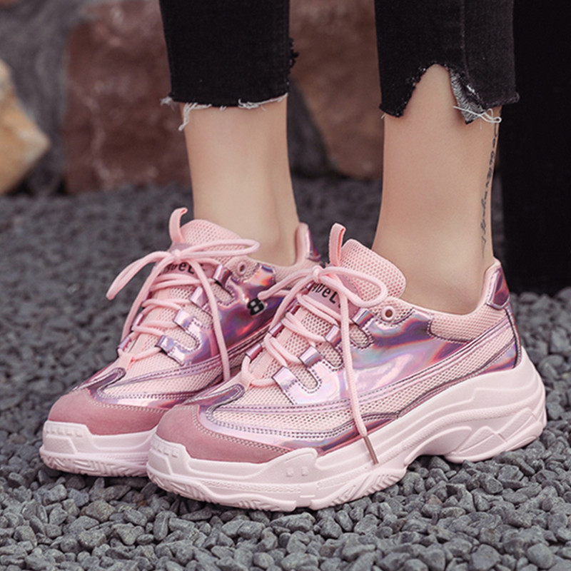 Women Red Platform Shoes Glossy PU+Mesh Breathable High Street Ladies Shoes Thick Sole 4.5cm Women Chunky Sneakers 909w