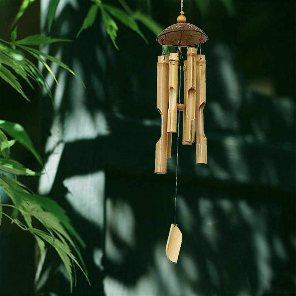 ไม้ไผ่ลมระฆังและ Coconut Fair Trade Wind Chime ลานกลางแจ้งตกแต่งสวนวันเกิดตกแต่งโดยของขวัญ 46 ซม.ยาว