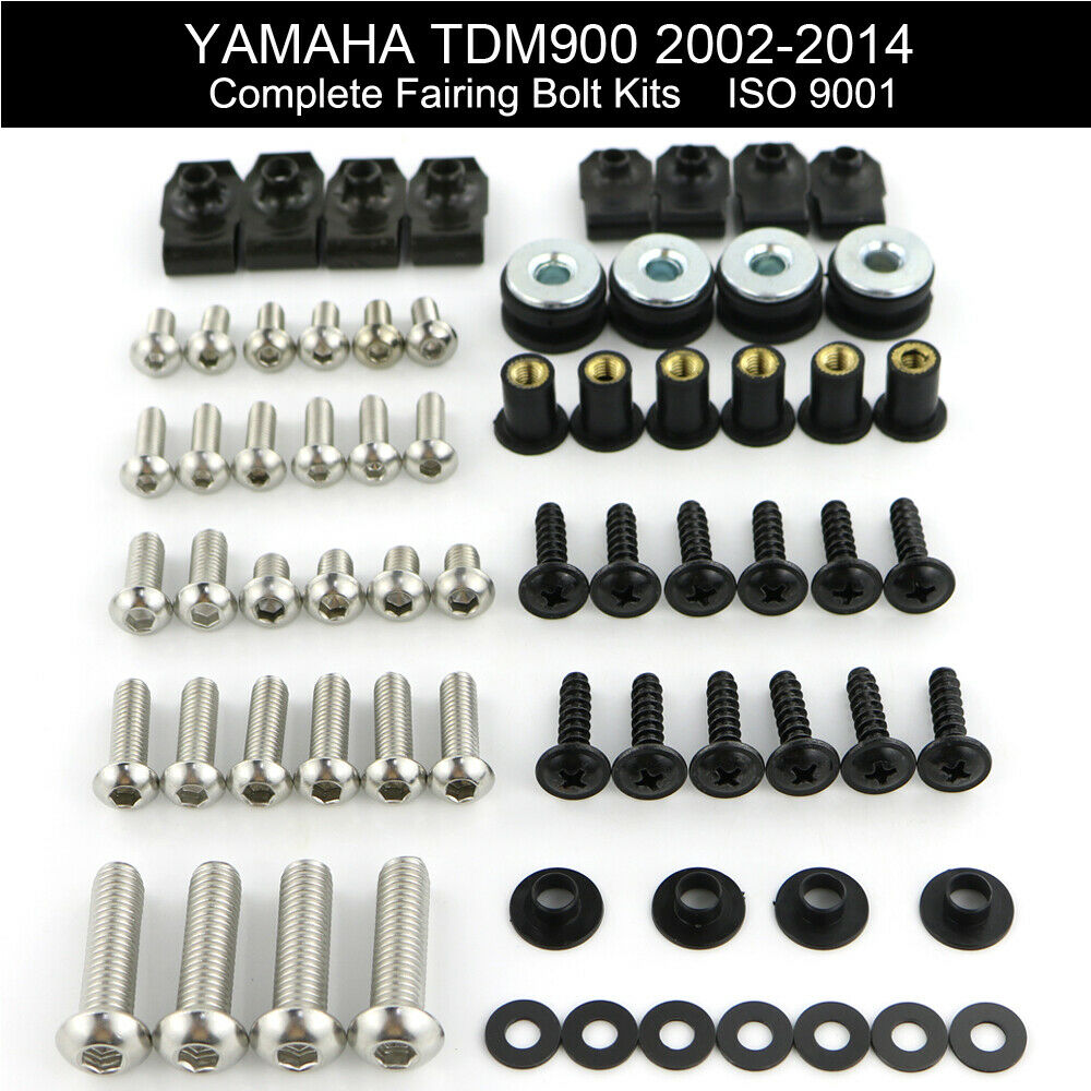 For Yamaha TDM900 TDM 900 2002-2014 Motorcycle Complete Full Fairing Bolts Kit Fairing Clips Body Screws Nuts Stainless Steel