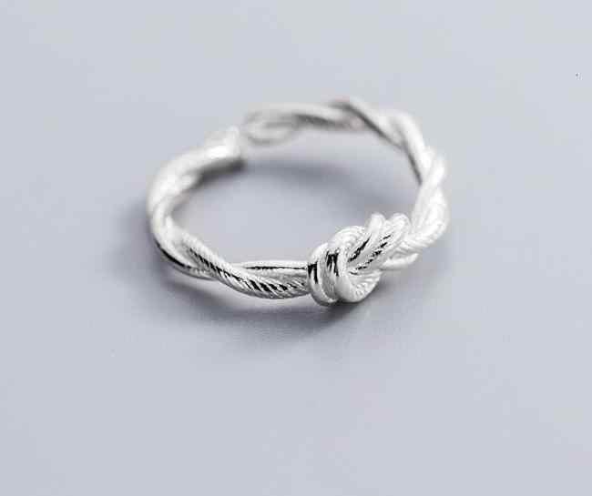 100% 2.5 มม.แท้ REAL.925 เงินสเตอร์ลิงเครื่องประดับคู่แถว/ชั้น Love Knot แหวน GTLJ1502