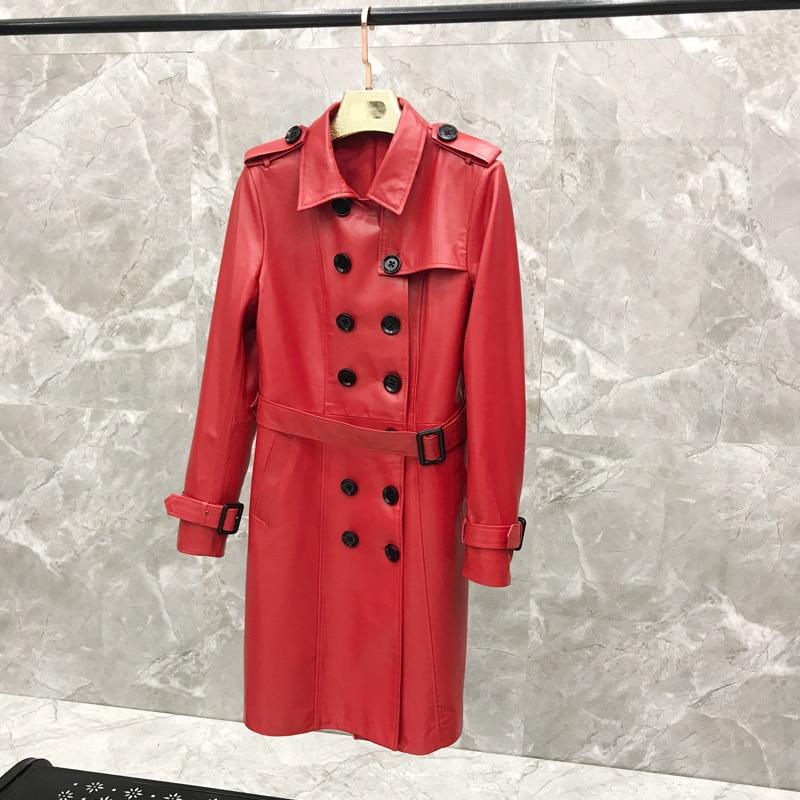 2020 Autumn  Jacket Women Long Section  Windbreaker  Korean Version Of The Coat Slim Jacket Real Leather Jacket
