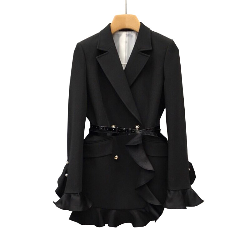 Fall Slim Ruffle Elegant Suit Jacket Women Tops 2019 Korean Black Office Blazer Casual Temperament Double-Breasted Blazer