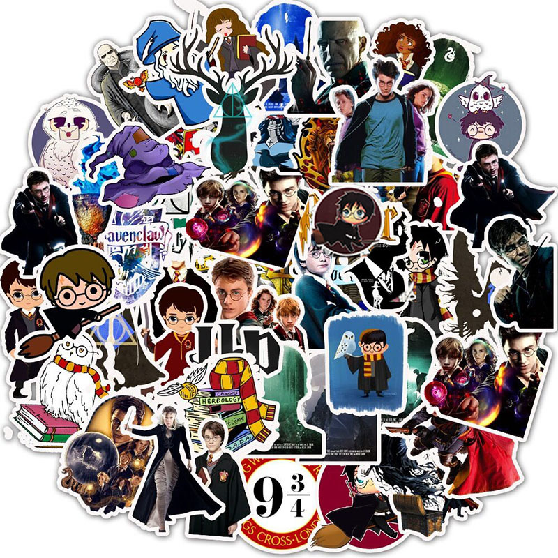 50PCS Classic Movie Harry-Potter Sticker Funny Anime Waterproof For Phone Laptop Scrapbook Scooter Toys For Children