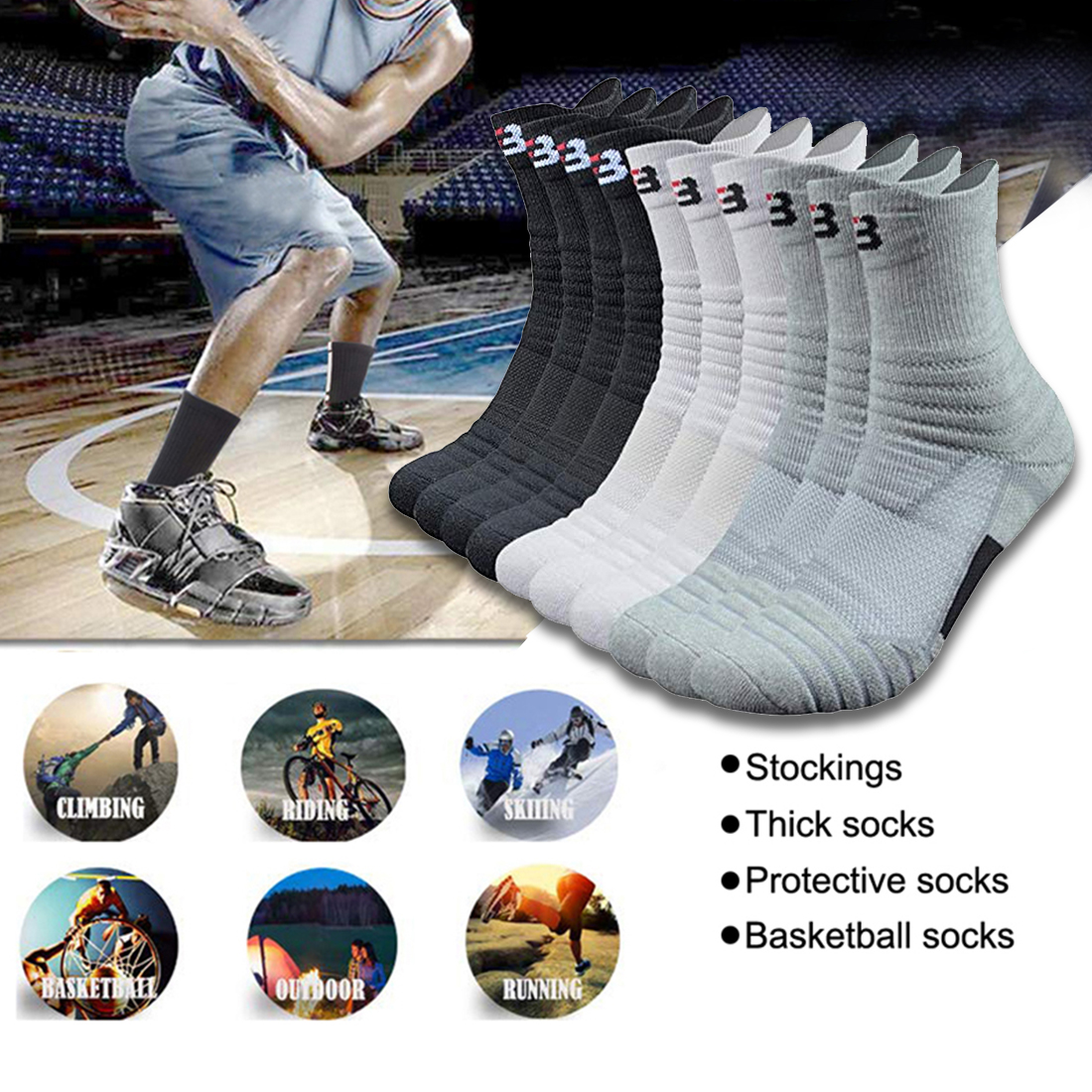 SFIT Velonoski  Professional Basketball Sport Socks Winter Thick Outdoor Sports Fitness Compression Sock Chaussette Homme Sports