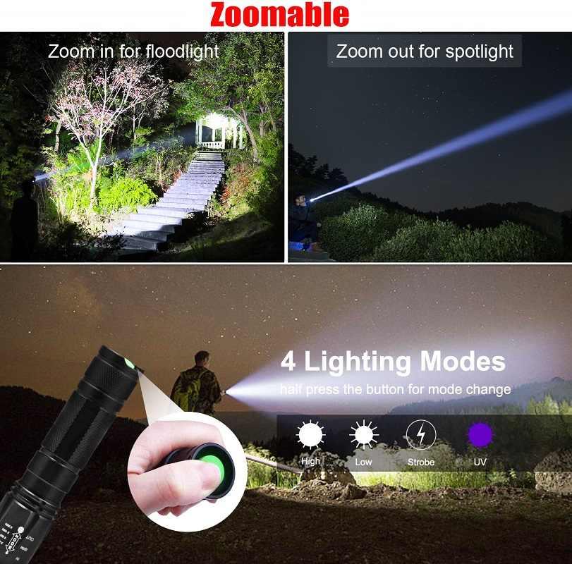 Lanterna UV Luz Negra 2 em 1 Lanterna LED para Camping Luz Negra Ultravioleta Detector De Urina para Os Gatos, Pet Manchas, Escorpiões