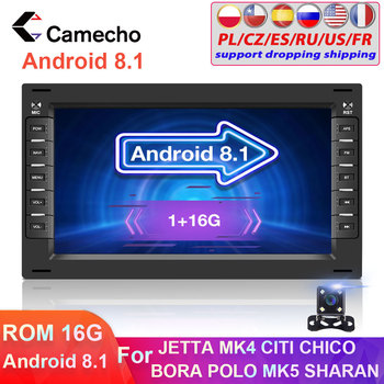 Camecho 2 Din Android 8.1 Car Radio Multimedia Player 2din GPS WiFi Car Auto Stero For BORA POLO MK5 SHARAN JETTA MK4 CITI CHICo image