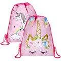 Kostenloser versand Einhorn Kordelzug tasche für Mädchen Reise Lagerung Paket Cartoon Schule Rucksäcke Kinder Geburtstag Party Favors|Tunnelzug Taschen|Gepäck & Taschen -