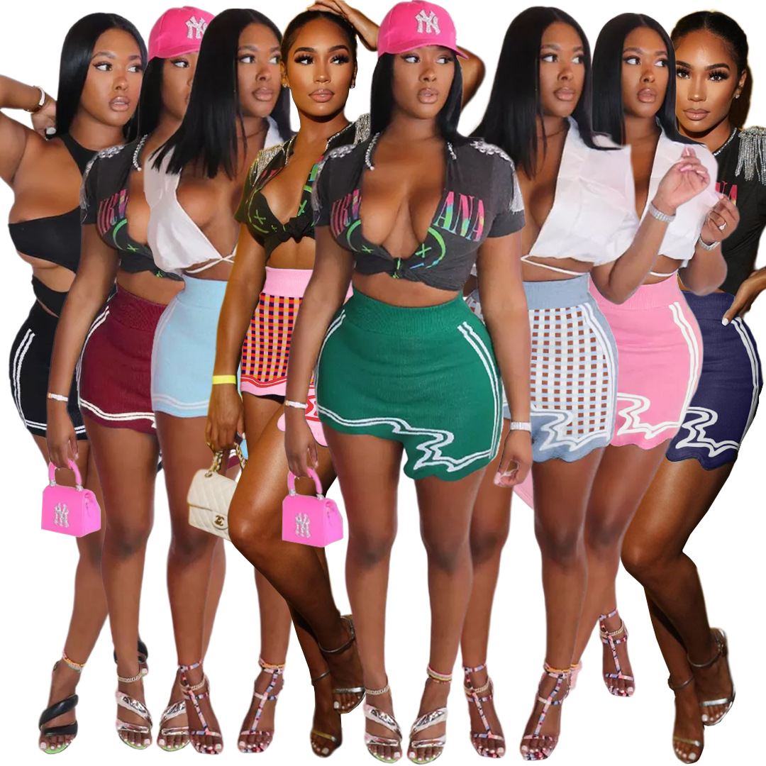 Active Wear High Waist Knitted Bandage Skirts for Women Y2K Clothing Outfits Streetwear Striped Plaid Print Irregular Skirts 1