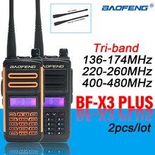2Pcs BAOFENG X3 Plus Long Distance Tri-band Ham Radios High-Power Walkie-Talkies Handheld hf Transceiver BF UV-5R Update Version