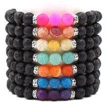 Beads Charm Bracelets Black Lava Rock Chakra Healing Balance Men Women Same Paragraph Reiki Prayer Stone Yoga Bracelet