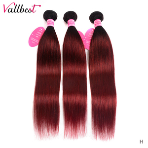 Vallbest Ombre Straight Hair Bundles 1B/99J# Brazilian Hair Weave Bundles 3 Pieces/Lot No Shedding No Tangle Remy Hair Extension(China)