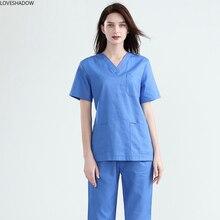 Женская медицинская форма, короткий рукав, скраб-топ, чистый путон, v-образный вырез, одежда для медсестер, сплошной цвет, рабочая одежда, боковое отверстие, доктор клиника